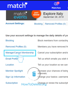 Manage/Cancel Match Membership