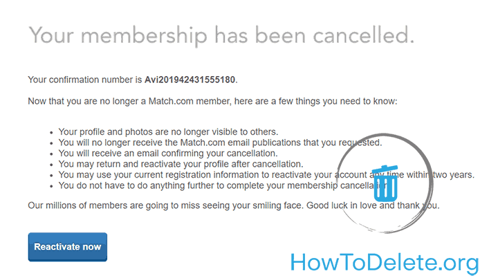 Delete Match Account and cancel Match subscription