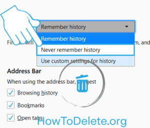 Firefox settings to never remember browsing history