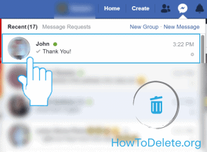 Facebook messenger conversation to delete