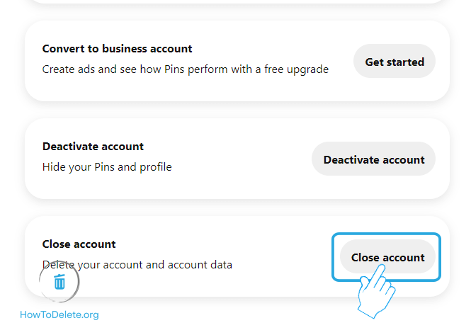 Click on Close Account button