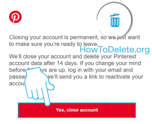 Pinterest email confirmation for deletion