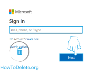 Microsoft account login to delete account
