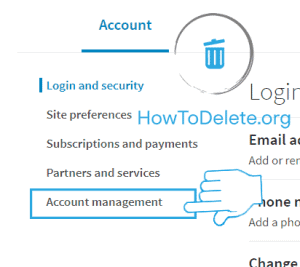 Linkedin account management settings