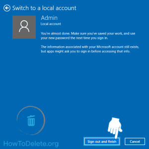Microsoft account sign out on windows 10