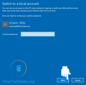 Microsoft account verification for deletion