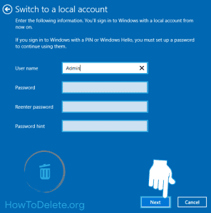 Windows 10 Local account creation