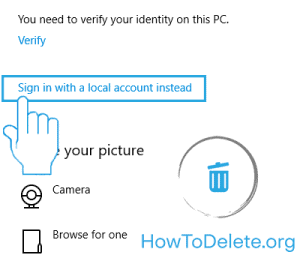 Windows 10 settings to create local account