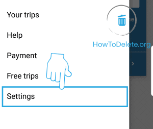 Uber mobile account delete settings