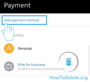 Uber mobile add payment method