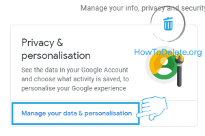 data personalization settings to delete google search history