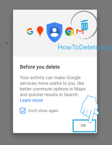 google mobile delete history confirmation