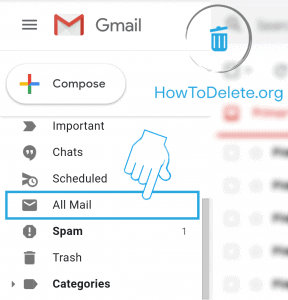 gmail all email option for delete