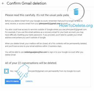 gmail delete confirmation