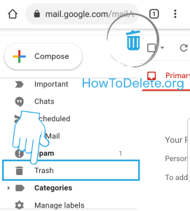 gmail trash option to delete email permanently