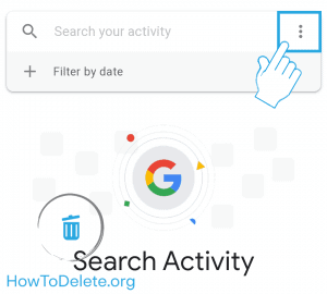 google app activity settings to clear