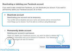 facebook deactivate or delete account