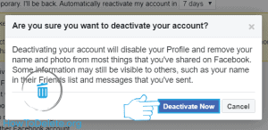 facebook deactivate confirm