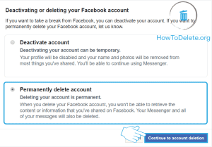 delete facebook account using browser