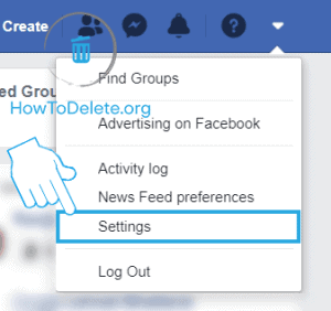 facebook web settings to terminate facebook account