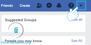facebook drop menu to clear search history