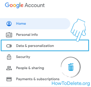 data & personalization for account delete