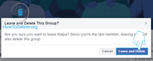 facebook group delete confirmation