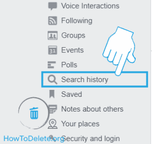 Remove search history on facebook web