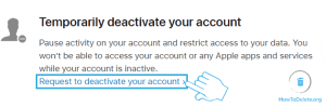 request to deactivate apple id