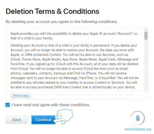 terms and condition for apple id deletion