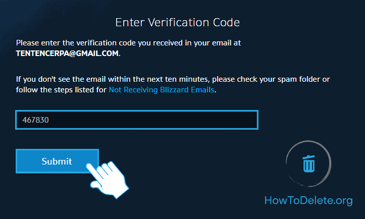 enter the verfication code