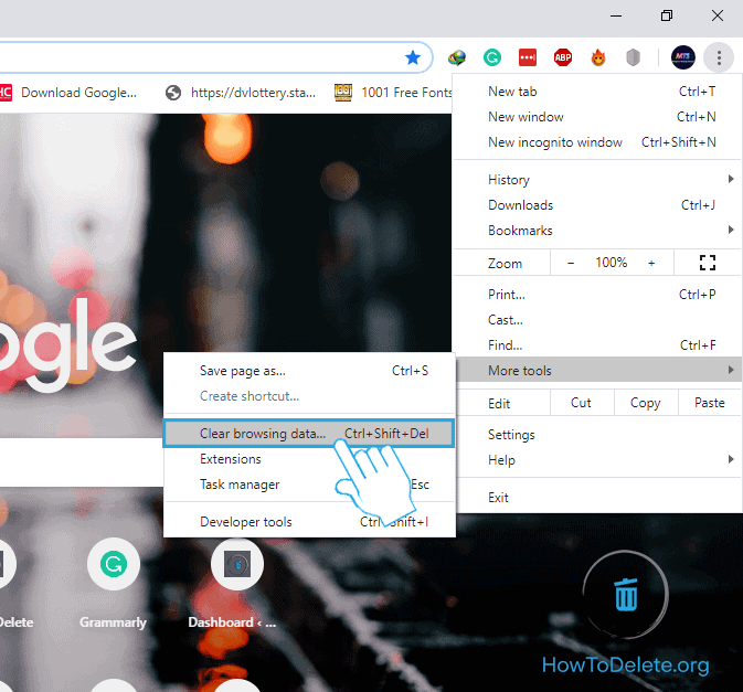 Select Clear browsing data