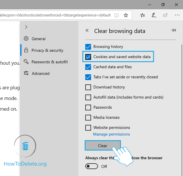 Select Cookies and saved website data