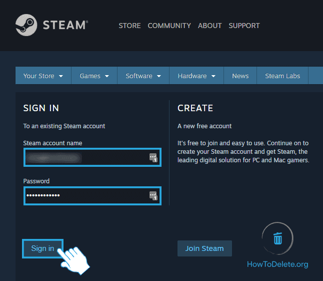 Sign into your Steam account