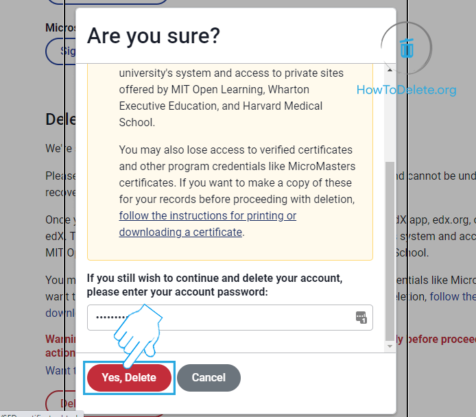 Click Yes,Delete to confirm
