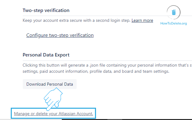 Click on Manage or Delete your Atlassian account