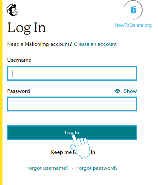 Sign in to Mailchimp