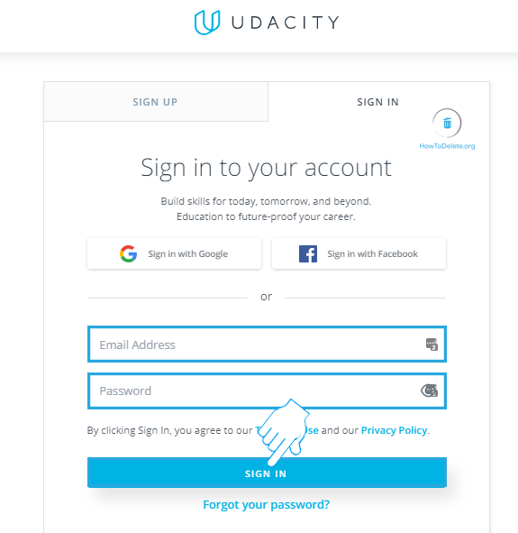 Sign in to Udacity
